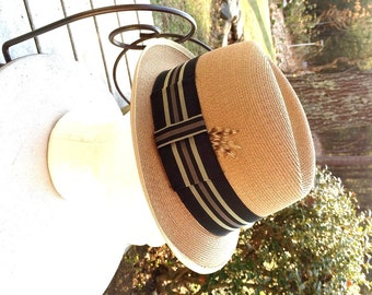 Champ Straw Fedora Tan Straw Hat with Silky Rayon Band and Feather Size 7  Rockabilly Street Style Hipster