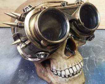 STEAMPUNK SPIKE GOGGLES-Distressed Gold Steampunk Flip Up Industrial Steampunk Welders Style Riding Clubbing Goggles w/Spikes-Burning Man