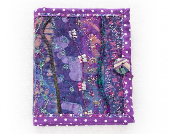Wisteria Needle Book - Gift for a person who likes sewing - Purple needle book with polka dots & embroidered flowers. Sewing needle case.