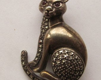 Vintage Sterling Silver Marcasite Cat Brooch Pin Jewelry