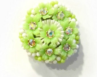 Plastic Rhinestone Flower Brooch Magnet Super Strong Upcycled Vintage Jewelry Kitchen Decor Gift Idea under 10