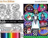 50% Off- Alice In Wonderland coloring, coloring book, adult coloring book, coloring pages, coloring book for adults, printable coloring page