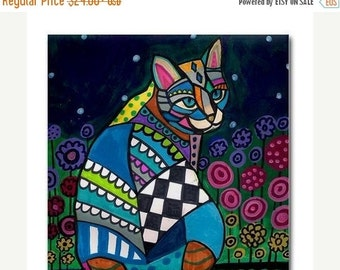 55% Off- Cat Gift Ceramic Cat Tile Coasters Cat Folk Art Print on Ceramic Tile
