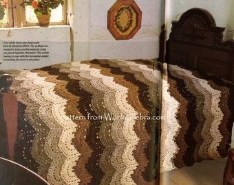 crochet Lace Bedspread scalloped lace Vintage Crochet Pattern PDF 764 from WonkyZebra