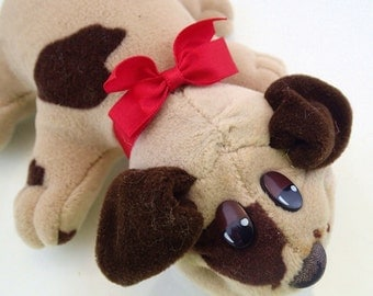 Pound Puppies Original New Born Puppy By Irwin First 80s Baby dog With Bow Gray and Brown Plush Toy Retro Cartoon Saturday Morning Kids