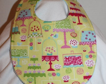 Cake Stand Flannel / Terry Cloth Bib