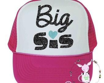 Kids Trucker Hat Big Sister glitter girls hat with glitter Big Sis hipster kids surfer hat baseball hat girls birthday hat Big Sister to be
