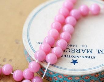 Vintage Japan Beads Bubblegum Pink Round Glass Beads Cherry Brand 8mm