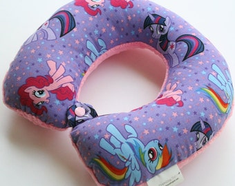 Child Travel Neck Pillow - Friendship is Magic w/ Dark Pink Minky