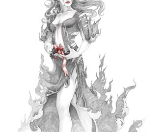 The Gift - giclee print of 8x10 pencil and ink drawing
