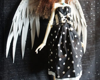 "Angel Doll Wings 10""- Handmade/painted - Grey #2"