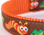 Garden Worms Dog Collar, Ribbon Adjustable Pet Collar, Spring Summer Collar, Earthworm