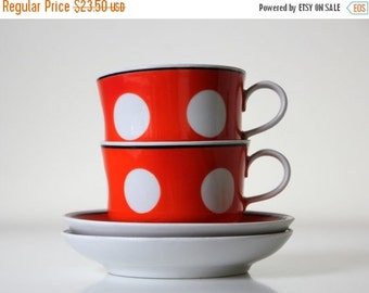 50% OFF Back in USSR kitchen, polka dot tea or coffee set for two