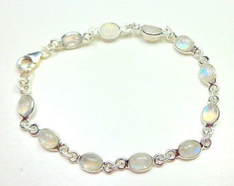 Classic Rainbow Moonstone, Sterling Silver Bracelet, Natural Gemstone Jewelry,Edwardian Fantasy, Classic Design