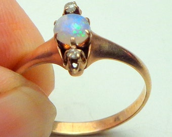 Sz 8, Antique 14k Pink Gold, Rose Cut Diamonds, Natural Australian Opal, Victorian Ring, Blue,Green, Peach, Natural Gemstones, OOAK