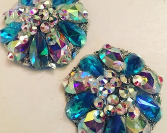 Turquoise and Aurora Rhinestone BURLESQUE couture pasties