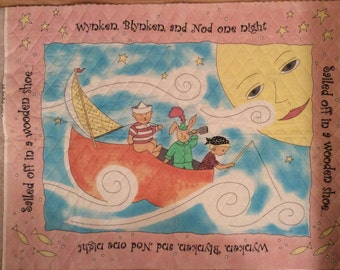 An Adorable Wynken Blynken And Nod Sailing Through the Sky Double Sided Pre-quilted Fabric Panel-Free US Shipping