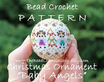 Christmas Ornament Baby Angels - Crochet PDF File TUTORIAL - Christmas Ornament Vol.16 with Swarovski Crystals