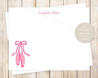 PRINTABLE ballet slippers note cards, notecards . personalized . flat stationery stationary . ballet shoes ballerina dancer . You Print