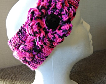 All Girly HandKnit Headband With Flower / Ready To Ship / Teen To Adult