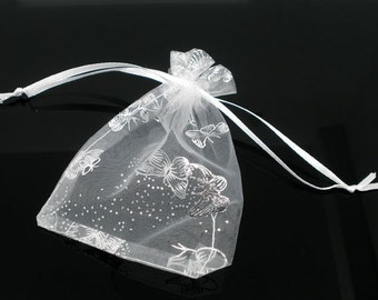 200pcs White Organza Bags - Wholesale Butterfly Favor Bags - Wedding Favors - 9x12 12x9cm Small Gift Bags - Drawstring Organza Jewelry Bags
