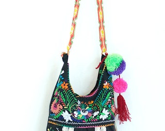 SALE Crossbody Handbag Mexican Embroidered Jody Black