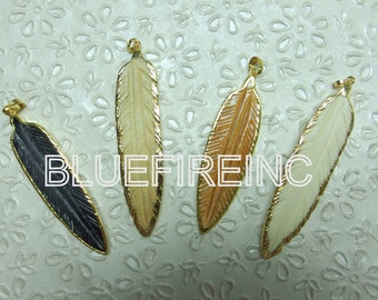 Bone carved feather Pendant with 24k Yellow gold edge