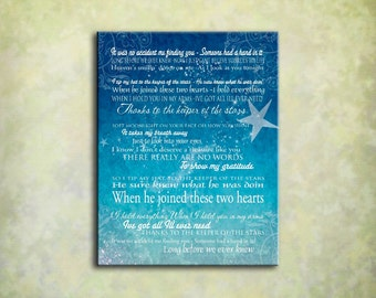 Keeper of the Stars - Tracy Byrd Lyrics Love Ballad - 16x20 Gallery Wrapped Canvas Word ARt Print
