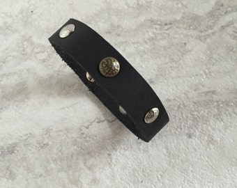 Women's Thin Black Leather Bracelet with Textured Rivets