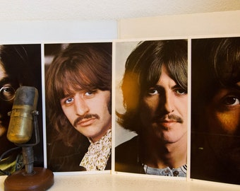 "Vinyl Record Album The Beatles 1960's Classic Rock and Roll ""The White Album"" (1970s Apple w/POSTER and 4 Photos) Vintage Gatefold 2LP Vinyl"