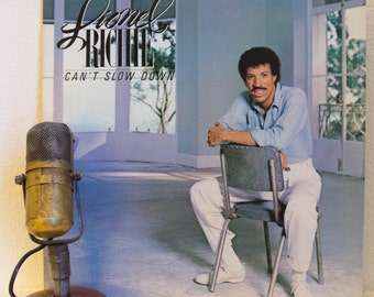 "ON SALE Lionel Richie (The Commodores) Vinyl Record LP 1980s Pop Hits Dance ""Can't Slow Down"" (Original 1983 Motown Records with lyric inner"