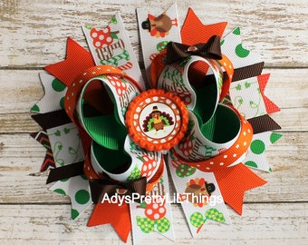 Turkey Bow Thanksgiving Bow Pumpkin Bow Orange Bottle Cap Bow Fall Bow Princess Bow Stacked Bow Boutique Bows Baby Girls Hair Accessories A3