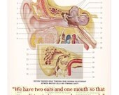 Vintage Anatomy Print The Human Ear with Epictetus Quote
