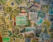75 Used Vintage GREEN Postage Stamps for crafting, collage, cards, altered art, scrapbooks, decoupage, history, collecting, philately 9a