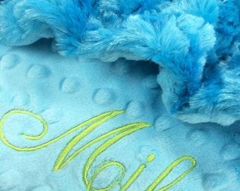 Aqua Blanket, Turquoise Blanket, Personalized Blanket Minky Blanket, Personalized baby blanket, Crib Size