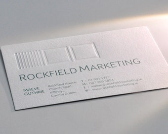 "200 Business Cards or Hang tags -  32PT white uncoated stock - Blind press debossing - 3.5""x2"" - custom printed"