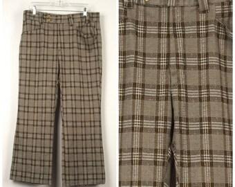 brown polyester plaid golf pants mod retro brown check 60s 70s vintage flat front high waist slacks trousers 34x28 short