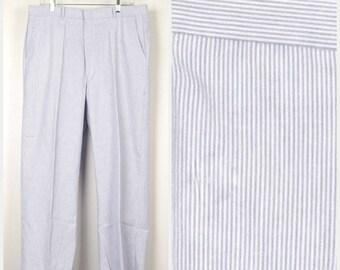 Blue White Lightweight Seersucker Pants | Vintage Cotton Flat Front Pinstripe slacks trousers | 34 x 28 short medium Men