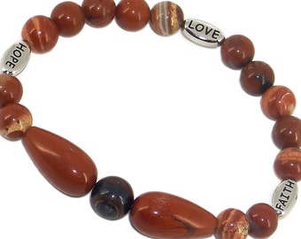 FAITH - HOPE - LOVE  -  Red Jasper and Tiger Iron with Rhodium Plated Message - Stretch Bracelet