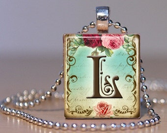 Vintage Monogram Letter L with  Roses - Pendant made from an Upcycled Scrabble Tile (171)