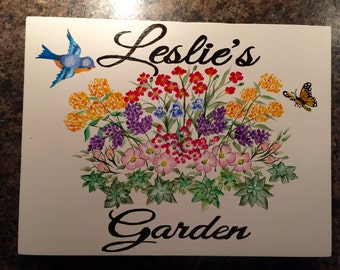 custom signs, hand painted signs, garden signs, personalized sign, gardening, garden art, floral sign, custom painted signs