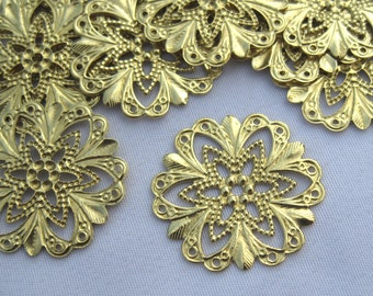 19mm Stamping Flower Filigree Raw Brass Jewelry Decorations bf037 (20pcs)