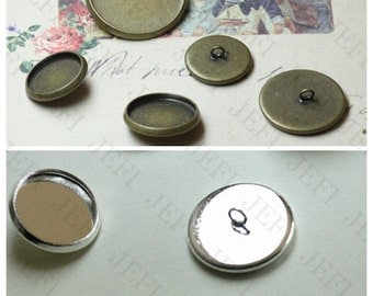 30 Blank Button Base- Brass Silver Plated/ Bronzed Button W/ Round Bezel Setting wholesale, 12mm/ 14mm/ 16mm/ 18mm/ 20mm available
