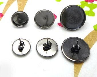 50 Sets Blank Post Earring- Brass Gun-Metal Plated 10mm/ 12mm/ 16mm Round Bezel Setting Ear Studs W/ Matching Ear Nuts Wholesale