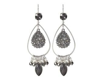 Long dangle earrings - Swarovski crystal earrings - Natural Onyx earrings - black gemstone earrings with Swarovski crystal fine rocks