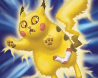 "Pikachu Cat - 8 x 10"" art print Pikachu Kitty Pokemon is having static electricity problems"
