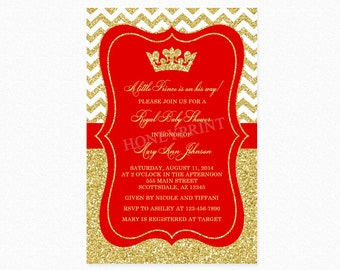 Prince Baby Shower Invitation Red Gold Baby Shower Invitation Little