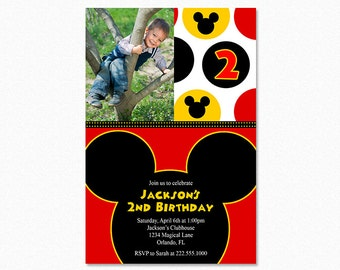 Mickey Mouse Birthday Party Invitation, Mickey Mouse Invitation, Red, Black, Yellow, Printable, Digital File