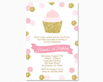 Pink and Gold Cupcake Birthday Party Invitation, Cupcake Birthday Party Invitation, Gold Glitter, Printable or Printed