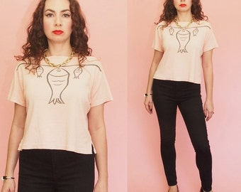 80s Graphic T-shirt // Striped T-shirt // Fish Print Top // Striped Top // Vintage Top // Fitted T-shirt // Plus Size